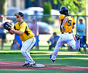 OFallon batter Haidyn McGill tries to beat the throw to Joliet West first baseman Preston Moore but was called out. OFallon played Joliet West in a Class 4A baseball sectional championship game at Blazier Field in OFallon, IL on Friday June 11, 2021. Tim Vizer/Special to STLhighschoolsports.com.