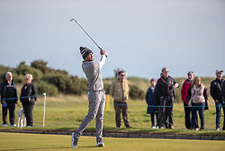 USA's Tony Finau plays his approach to the 17th green during day two of the Alfred Dunhill Links Championship at Carnoustie Golf Links, Angus.