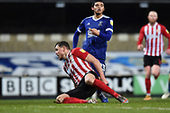 Sunderland forward Charlie Wyke (9) scores a goal 0-1 during the EFL Sky Bet League 1 match between Ipswich Town and Sunderland at Portman Road, Ipswich, England on 26 January 2021.