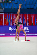 Sales Laura during the qualification of the ball at the Pesaro World Cup 2018. Laura is a Portuguese gymnast born in 2000.