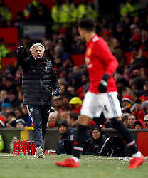 Manchester United manager Jose Mourinho shouts instructions towards Jesse Lingard during the Emirates FA Cup, quarter final match at Old Trafford, Manchester.