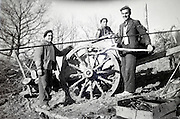 collecting wood with ox drawn cart 1950s France Languedoc