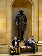 01 MAY 2017 - ST. PAUL, MN: Men work in the rotunda, under a statue of Colonel William Colvill, a Minnesota hero of the US Civil War, at the Minnesota State Capitol in St. Paul, MN.       PHOTO BY JACK KURTZ