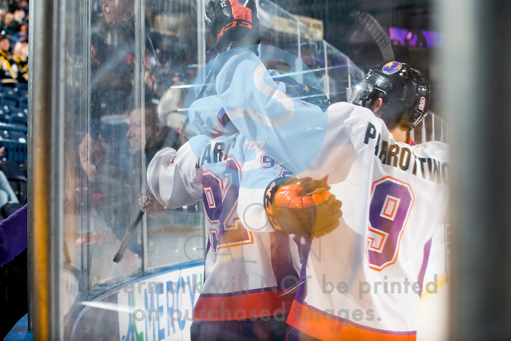 The Youngstown Phantoms defeat the Chicago Steel 4-3 in overtime at the Covelli Centre on November 18, 2017.<br /> <br /> Alexander Barber, center, 92; Tommy Parrottino, left wing, 9