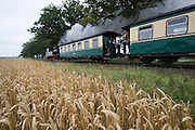"""The aptly named """"Rasender Roland"""" (Speeding Roland) is a vintage narrow gage steam railway line linking Lauterbach and Goeren. Here it passes a wheat field near Posewald before a heavy summer downpour."""