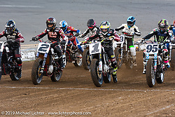 Jared Mees (number 1 plate), Kenny Coolbeth, Jr. (number 2 plate) and Bryan Smith (number 4 plate) on their FTR750 Indian Scouts at the American Flat Track TT at Daytona International Speedway during Daytona Bike Week. Daytona Beach, FL. USA. Thursday March 15, 2018. Photography ©2018 Michael Lichter.