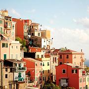 Italian village of Corniglia at late afternoon