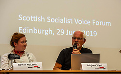 Pictured: Róisín McLaran and Asbjørn Wahl<br />Delegates welcomed panalists Eva, Schornveld, Extinction Rebellion; Colin Fox and Róisín McLaran, Scottish Socialist Party and Asbjørn Wahl a climate activist from Norway to assess how tackling climate change can be done in ways which benefit working-class people and their communities.<br /><br />Eva Schonveld Extintion Rebellion<br /><br />Colin Fox is the national co-spokesperson of the Scottish Socialist Party and a former Member of the Scottish Parliament for the Lothians.<br /><br />Róisín McLaren is the national co-spokesperson of the Scottish Socialist Party. At 24, she is the youngest leader of any UK political party in history.<br /><br />Asbjørn Wahl is a Norwegian researcher and author. He is currently the director of the Campaign for the Welfare State, an adviser for the Norwegian Union of Municipal and General Employees, and the Vice President of the Road Transport Workers' Section of the International Transport Workers' Federation.<br /><br /><br />Ger Harley | EEm 29 June 2019