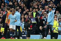 Football - 2018 / 2019 UEFA Champions League - Quarter-Final, Second Leg: Manchester City (0) vs. Tottenham Hotspur (1)<br /> <br /> The referee checks the VAR screen after Tottenham Hotspur score their third goal, at The Etihad.<br /> <br /> COLORSPORT/PAUL GREENWOOD