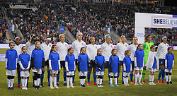 February 28, 2019 - Chester, United States - The United States standing for the national anthem .during the She Believes Cup football match between The United States and Japan at Talen Energy Stadium on February 27, 2019 in Chester, Pennsylvania, United States. (Credit Image: © Action Foto Sport/NurPhoto via ZUMA Press)
