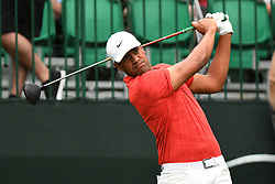 May 3, 2019 - Charlotte, NC, U.S. - CHARLOTTE, NC - MAY 03: Tony Finau plays his shot from the tenth tee in round two of the Wells Fargo Championship on March 03, 2019 at Quail Hollow Club in Charlotte,NC. (Photo by Dannie Walls/Icon Sportswire) (Credit Image: © Dannie Walls/Icon SMI via ZUMA Press)
