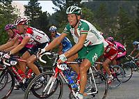 Sykkel<br /> Tour de France 2003<br /> Foto: Photo News/Digitalsport<br /> <br /> Norway Only<br /> <br /> Thor Hushovd - Norge<br /> <br /> <br /> BOURG D'OISANS - GAP 14/07/2003<br />THOR HUSHOVD<br />9EME ETAPE BOURG D'OISANS - GAP (184  KM)<br />TOUR DE FRANCE 2003<br />PICTURE BY ERIC LALMAND<br />MOTARD : PIERRE VELAERTS<br />© Copyright PHOTO NEWS