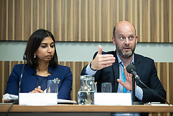 """© Licensed to London News Pictures . 01/10/2018. Birmingham, UK. Suella Braverman MP Parliamentary Under Secretary of State for the Department for Exiting the EU and Josh Hardie of the CBI . Prospect magazine fringe event titled """" Beyond tariffs where are our opportunities to boost trade post-Brexit """" , supported by Associated British Ports . Day 2 of the Conservative Party conference at the ICC in Birmingham . Photo credit: Joel Goodman/LNP"""