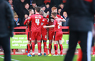 Crawley Town striker Rhys Murphy celebrates after opening the scoring during the Sky Bet League 2 match between Crawley Town and Bristol Rovers at the Checkatrade.com Stadium, Crawley, England on 21 November 2015. Photo by Bennett Dean.