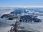 Nederland, Noord-Holland, Gemeente Amsterdam, 13-02-2021; winterlandschap, zicht op IJburg en IJmeer, Enneus Heermabrug in de voorgrond.<br /> Winter landscape, Amsterdam IJburg.<br /> luchtfoto (toeslag op standaard tarieven);<br /> aerial photo (additional fee required)<br /> copyright © 2021 foto/photo Siebe Swart