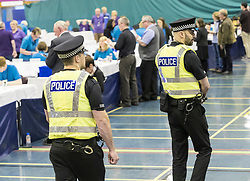 The count for the UK Parliamentary General Election 2017 for the Perth & North Perthshire Constituency takes place at Bell's Sports Centre in Perth.<br /> <br /> The four candidates standing for the seat are Peter Barrett (Scottish Liberal Democrats), Ian Duncan (Scottish Conservatives), David Roemmele (Scottish Labour) and Pete Wishart (SNP)<br /> <br /> Pictured:  A police presence watches over the count at Perth & North Perthshire