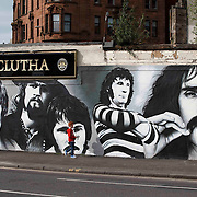 The Clutha pub in Glasgow due to re-open this week after the refurbishment. A new mural is being completed in time for the re-opening. Portraits of personalities linked to the bar.   L to R : Spike Milligan, Billy Connolly, Gerry Rafferty, Alex Harvey and Frank Zappa. Picture Robert Perry 28th May 2015<br /> <br /> Must credit photo to Robert Perry<br /> FEE PAYABLE FOR REPRO USE<br /> FEE PAYABLE FOR ALL INTERNET USE<br /> www.robertperry.co.uk<br /> NB -This image is not to be distributed without the prior consent of the copyright holder.<br /> in using this image you agree to abide by terms and conditions as stated in this caption.<br /> All monies payable to Robert Perry<br /> <br /> (PLEASE DO NOT REMOVE THIS CAPTION)<br /> This image is intended for Editorial use (e.g. news). Any commercial or promotional use requires additional clearance. <br /> Copyright 2014 All rights protected.<br /> first use only<br /> contact details<br /> Robert Perry     <br /> 07702 631 477<br /> robertperryphotos@gmail.com<br /> no internet usage without prior consent.         <br /> Robert Perry reserves the right to pursue unauthorised use of this image . If you violate my intellectual property you may be liable for  damages, loss of income, and profits you derive from the use of this image.