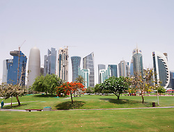 View of modern skyscrapers in new  business district of Doha in Qatar