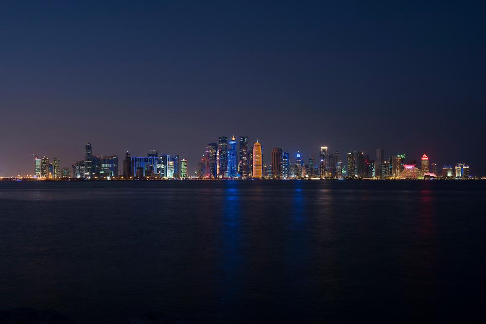 Doha skyline at dusk in Doha, Qatar