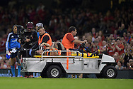Leigh Halfpenny of Wales leaves the field injured.Wales v Italy, RWC warm up international match at the Millennium Stadium in Cardiff ,South Wales on Saturday 5th Sept  2015. pic by Andrew Orchard, Andrew Orchard sports photography.