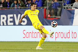 May 15, 2019 - Foxborough, MA, U.S. - FOXBOROUGH, MA - MAY 15: Chelsea FC defender Andreas Christensen (27) plays the ball during the Final Whistle on Hate match between the New England Revolution and Chelsea Football Club on May 15, 2019, at Gillette Stadium in Foxborough, Massachusetts. (Photo by Fred Kfoury III/Icon Sportswire) (Credit Image: © Fred Kfoury Iii/Icon SMI via ZUMA Press)