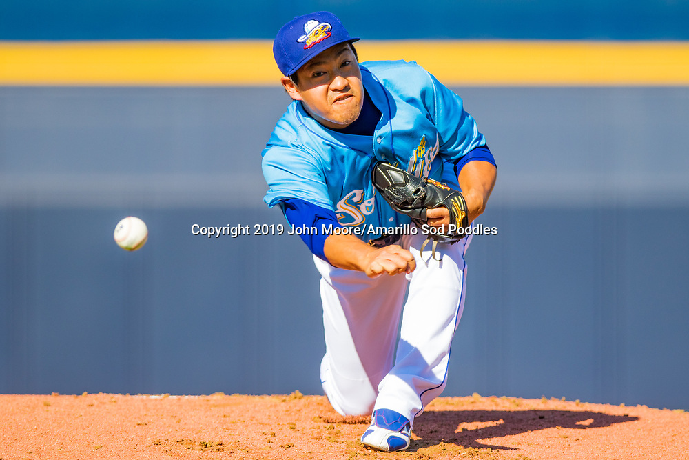Amarillo Sod Poodles pitcher Kazuhisa Makita (18) pitches against the Midland RockHounds on Tuesday, Aug. 13, 2019, at HODGETOWN in Amarillo, Texas. [Photo by John Moore/Amarillo Sod Poodles]