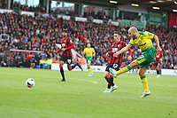 Football - 2019 / 2020 Premier League - AFC Bournemouth vs. Norwich City<br /> <br /> Teemu Pukki of Norwich City gets a shot on goal during the Premier League match at the Vitality Stadium (Dean Court) Bournemouth  <br /> <br /> COLORSPORT/SHAUN BOGGUST
