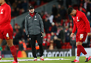 Jurgen Klopp manager of Liverpool watches the warm up during the UEFA Champions League match at Anfield, Liverpool. Picture date: 11th March 2020. Picture credit should read: Darren Staples/Sportimage