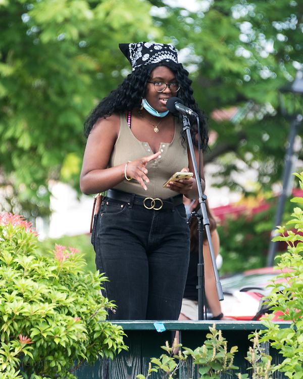 Bar Harbor, Maine. July 19, 2020. Kosi Ifeji speaks at the MDI Racial Justice Coalition rally.