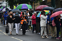 Tennis - 2021 All-England Championships - Week One - Wimbledon<br /> <br /> Fans queuing outside the gates.<br /> <br /> COLORSPORT/ASHLEY WESTERN