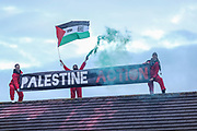 """Tamworth, United Kingdom, May 25, 2021: The """"Palestine Action"""" activists group occupied another Israeli owned weapons manufacturer building in Tamworth, Amington Industrial Estate near Birmingham on Tuesday, May 25, 2021. """"Shut Elbit Down"""", """"Free! Free! Palestine"""" are among the slogans activists shouted whilst on the rooftop of the building. (Photo by Vudi Xhymshiti)"""