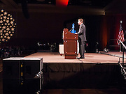 bushphoenix 16 MARCH 2011 - PHOENIX, AZ: Len Munsil, president of Arizona Christian University, introduces former president George W. Bush who spoke at Arizona Christian University's 50th anniversary dinner at the Phoenix Convention Center Wednesday night. Hundreds of people from progressive and social justice groups demonstrated against the former president. More than 1200 people paid $500 each to hear the former President.   PHOTO BY JACK KURTZ