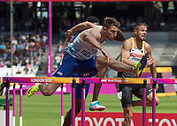 Athletics - 2017 IAAF London World Athletics Championships - Day Three, Morning Session<br /> <br /> 110m Hurdles Men - Heats<br /> <br /> Andrew Pozzi (Great Britain) clears the high hurdle at the London Stadium<br /> <br /> COLORSPORT/DANIEL BEARHAM