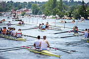 Henley on Thames, England, United Kingdom, 3rd July 2019, Henley Royal Regatta  Congestion as crews move down the course, Henley Reach, [© Peter SPURRIER/Intersport Image]<br /> <br /> 12:35:47 1919 - 2019, Royal Henley Peace Regatta Centenary,