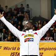 Justin Gatlin of the U.S. displays his gold medal during the awards ceremony for the men's 60 metres at the IAAF World Indoor Championships at the Atakoy Athletics Arena, Istanbul, Turkey. Photo by TURKPIX