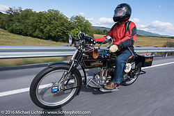 Bryne Bramwell of CAN on his 1913 Henderson during the  Motorcycle Cannonball Race of the Century. Stage-2 from York, PA to Morgantown, WV. USA. Sunday September 11, 2016. Photography ©2016 Michael Lichter.