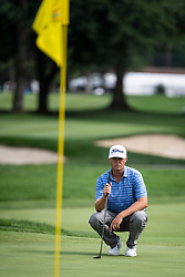 August 2, 2018 - Akron, OH, U.S. - AKRON, OH - AUGUST 02:  Patton Kizzire (USA) lines up his putt on the 15th green during the first round of the WGC-Bridgestone Invitational on August 2, 2018 at the Firestone Country Club South Course in Akron, Ohio. (Photo by Shelley Lipton/Icon Sportswire) (Credit Image: © Shelley Lipton/Icon SMI via ZUMA Press)