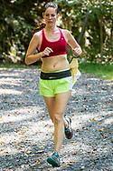 Rosendale, New York - A runner in the 13.1-mile race nears the finish line of fhe Shawangunk Ridge Trail Run/Hike on Sept. 16, 2017.