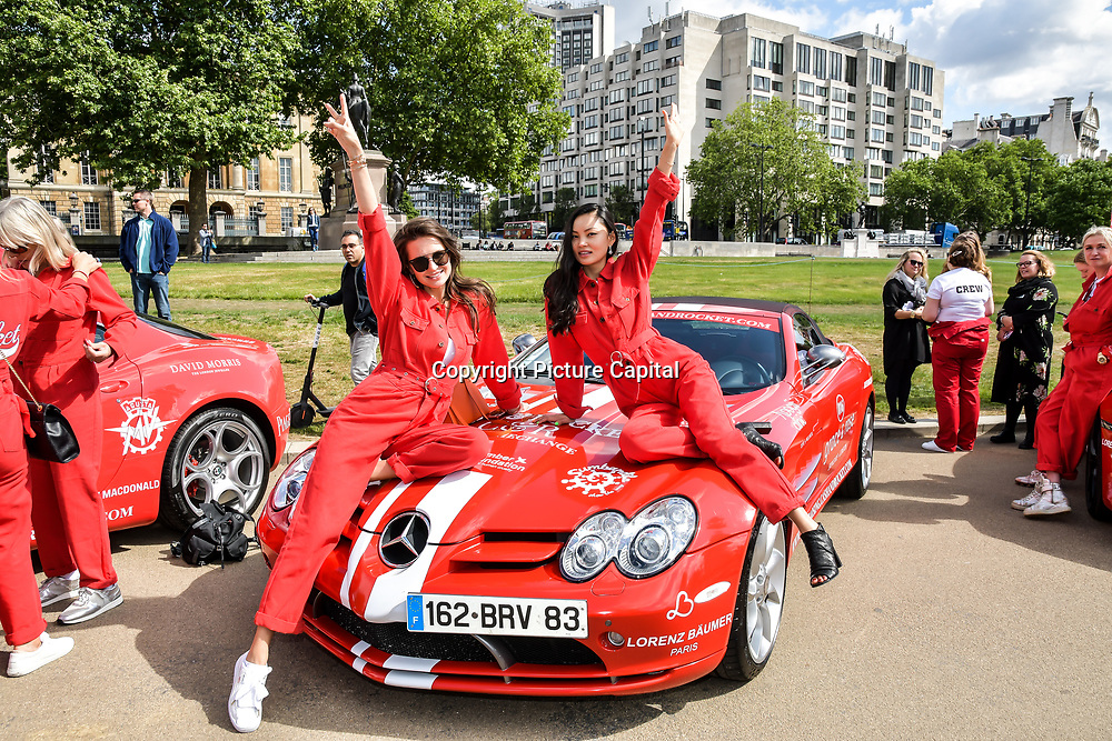 Alina Coughlan (R) from Kazakhstan attend Cash & Rocket Photocall at Wellington Arch, on 6 June 2019, London, UK