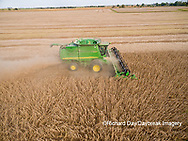63801-09120 Soybean Harvest, John Deere combine harvesting soybeans - aerial - Marion Co. IL