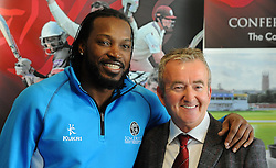 Somerset's Chris Gayle poses with Somerset Chairman Andy Nash during a Press Call at the County Ground, Taunton on the 3rd of June 2015. - Photo mandatory by-line: Harry Trump/JMP - Mobile: 07966 386802 - 03/06/15 - SPORT - CRICKET - Chris Gayle Press Conference - The County Ground, Taunton, England.