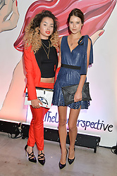 Left to right, ELLA EYRE and SARAH ANN MACKLIN at the launch of The Lulu Perspective to celebrate 25 years of Lulu Guinness held at 74a Newman Street, London on 13th September 2014.
