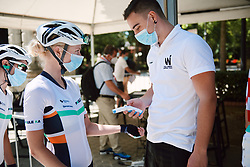 Mikayla Harvey (NZL) has her temperature checked at the 2020 Clasica Feminas De Navarra, a 122.9 km road race starting and finishing in Pamplona, Spain on July 24, 2020. Photo by Sean Robinson/velofocus.com