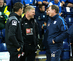 Bournemouth Manager, Eddie Howe talks with Preston Manager Simon Grayson - Mandatory byline: Matt McNulty/JMP - 07966386802 - 22/09/2015 - FOOTBALL - Deepdale Stadium -Preston,England - Preston North End v Bournemouth - Capital One Cup - Third Round