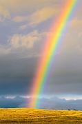 Rainbow over the Sierra Nevada foothills, California USA