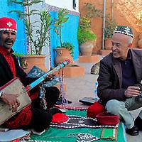 Africa, Morocco, Rabat. Street music of Kasbah of Oudaya, a UNESCO World Heritage Site.