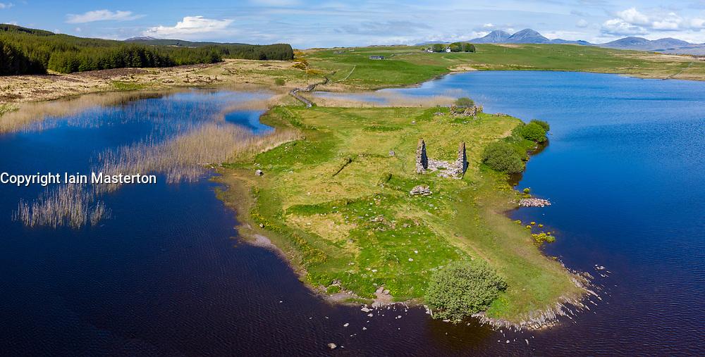 Aerial view form drone of Finlaggan historical monument site on Eilean Mòr on Loch Finlaggan, Islay, Inner Hebrides, Scotland, UK