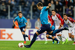 November 23, 2017 - Saint Petersburg, Russia - Artem Dzyuba (C) of FC Zenit Saint Petersburg shoots to miss a penalty shot during the UEFA Europa League Group L match between FC Zenit St. Petersburg and FK Vardar at Saint Petersburg Stadium on November 23, 2017 in Saint Petersburg, Russia. (Credit Image: © Mike Kireev/NurPhoto via ZUMA Press)