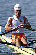 20040814 Olympic Games Athens Greece [Rowing]<br /> Photo  Peter Spurrier <br /> NED M1X Dirk Lippets wearing a wind resistant hat.<br /> <br /> email;  images@intersport-images.com<br /> Tel +44 7973 819 551<br /> T<br /> <br /> <br /> [Mandatory Credit Peter Spurrier/ Intersport Images]