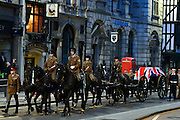 © Licensed to London News Pictures. 15/04/2013. London, UK The gun carriage that will carry the coffin makes its way along Fleet Street. A full rehearsal of the funeral of former British Conservative Prime Minster Baroness Thatcher takes place in central London. Hundreds of members of the armed forces drawn from all three services took part in the practice in the early hours of 15th April 2013. Photo credit : Stephen Simpson/LNP